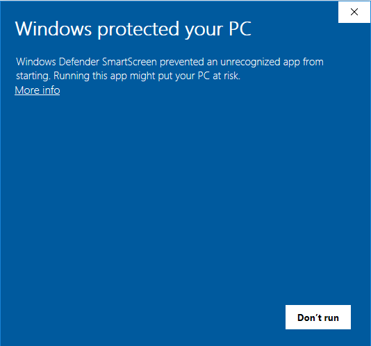 Windows Defender Message